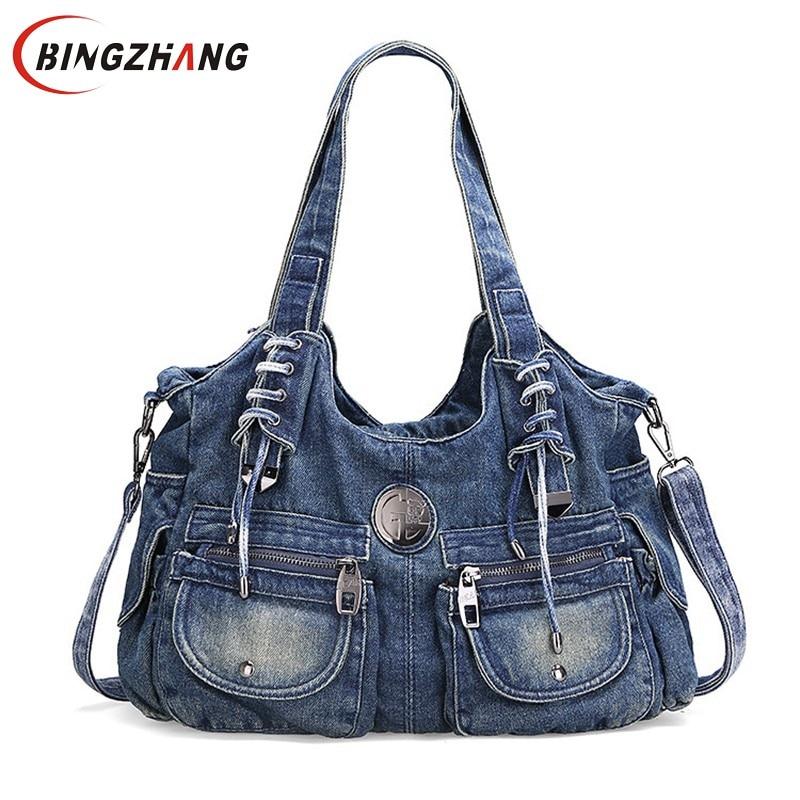 Fashion Wild Women Bag Vintage Casual Denim Handbag Lady Large Capacity Jeans Tote Weave Creative Shoulder Messenge Bag L4-2937<br>