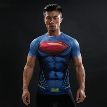 Batman VS Superman T Shirt Tee 3D Printed T-shirts Men Short Raglan sleeve Fitness Cosplay Costume Slim Fit Compression Top Male(China)