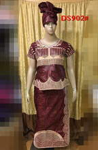 AFRICAN basin riche clothes dresses make by brocade fabric cording embrodeiry short/blouse top with wrapper and scarf 3pcs/set(China)