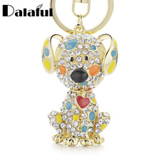 Dalaful Enamel Dalmatian Dog Red Heart Crystal HandBag Pendant Keyrings Keychains For Car key chains holder women K149(China)
