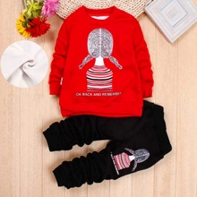 2-6 Years Old Autumn Print Avatar Children Clothing Sets Girls Warm Long Sleeve Sweaters+Pants Fashion Kids Clothes Sports Suit