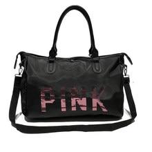 75343e58528b Wobag Ladies Black Travel Bag Fashion Pink Sequins Shoulder Bag Women  Handbag Ladies Weekend Portable Duffel Waterproof Wash Bag
