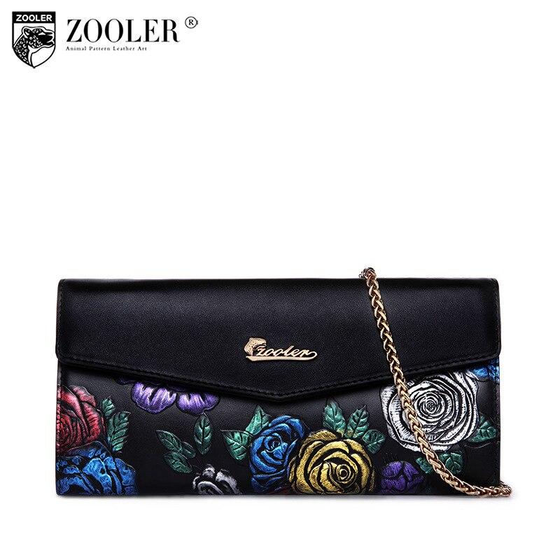 ZOOLER Women Wallets Genuine Leather Long Purse Women Clutch Bags Brand Female Chains Vintage Floral Cowhide Leather Wallet Bag<br>