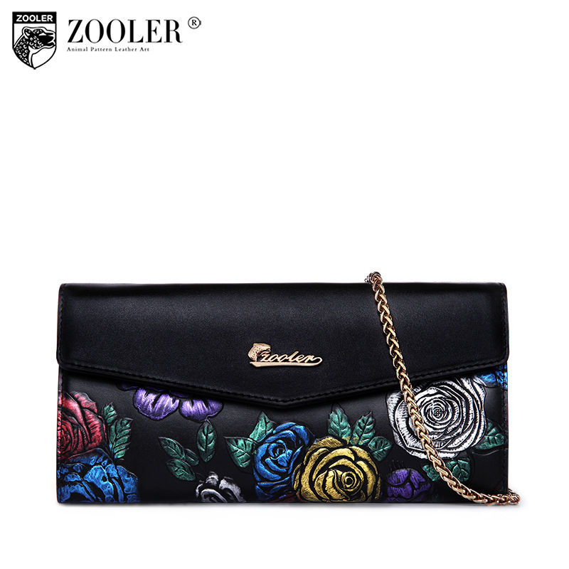 ZOOLER Women Wallets Genuine Leather Long Purse Women Clutch Bags Brand Female Chains Vintage Floral Cowhide Leather Wallet Bag(China (Mainland))