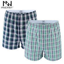 Innersy Boxer Loose Shorts Men's Panties Cotton boxer Male plus Size Underwear Plaid Underwear Long Homewear Boxer Comfortable(China)