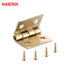 10PCS NAIERDI Mini Bronze Gold Hinge Square Antique Door Hinges For Wooden Cabinet Drawer Jewellery Box Furniture Hardware(China)