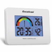 Excelvan Digital Precision Radio Controlled Alarm Clock Thermometer and Hygrometer with Colorful Comfort Meter Temperature Hot