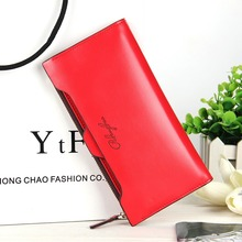 Hot Selling Purse Women Candy Color Brand Female PU Leather Long Thin Wallet With Zipper Coin Bag And Removable ID Card Holder(China)