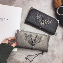 New Sale Punk Vintage Women Wallets female Card Holder PU Leather Money Clutch Bag Purses Long Wallet Lady Cell Phone Purse(China)