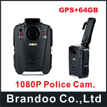 64GB GPS Ambarella A12 Waterproof IP65 Super HD 1080P Police Body Worn Camera