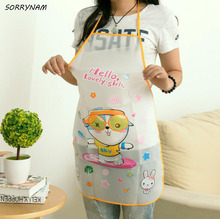 1 Pcs/set Cartoon Waterproof PE Apron Adult Women Lady'S Kitchen Cooking Pinafores Aprons Cartoon Apron