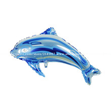 Wholesale 50pcs/lot Big Size 84*48cm Dolphin Balloons Animal Shape Aluminum Foil Balloons Holiday Party Decoration Balloon(China)