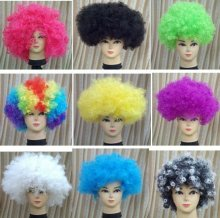 Football fans wigs Costume Green Curly Wig 20pcs/lot mix order more colors