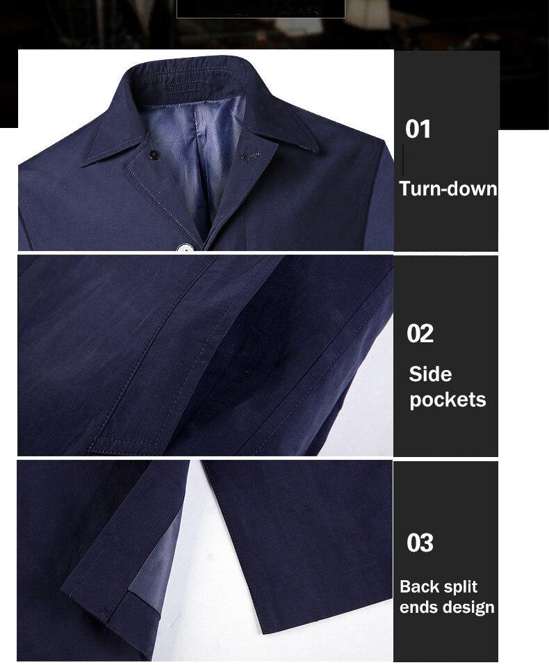 2018 New Spring Mens Casual Trench Coat Khaki blue Longline Thin Windbreaker Coats  (4)