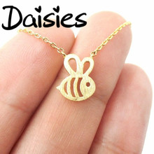 Daisies Dainty Simple Design Everyday Super Cute Girl Bee Pendant Women Honey Bee Necklace Darling Sweet Jewelry