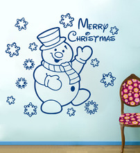 Cute Holiday Christmas Gift Snowman Snowflake Wall Decal Viny Sticker Home Window Art Decor Mural Kids Room Decor YO-26