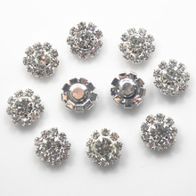 100pcs DIA12mm Round Rhinestone Embellishment Buttons Without Loop Clear Crystal Cluster Buckle DIY Accessories