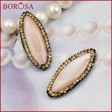 BOROSA New! Oval Pink Shell Bead handmake paved gold CZ on the edged durzy pendant vintage baroque style Beads(side hole) JAB072