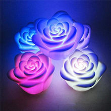 5Pcs/lot LED Light Colorful Rose Flower Flashing Night Light Lamp Home Wedding Party Decor Holiday Lighting Christmas Gift