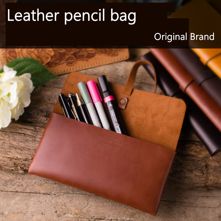 Genuine leather pencil case retro High quality lettering gift Vintage stationery phone storage bag pouch school office supplies<br>
