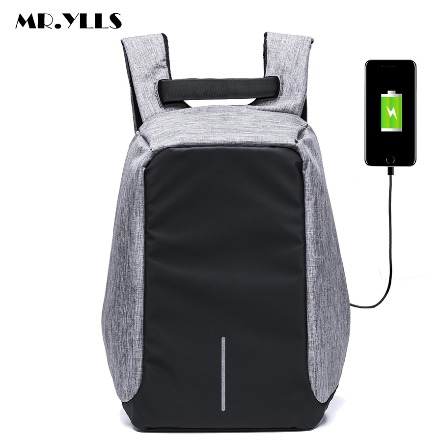 MR.YLLS 2017 New Functional Backpack USB Charge Business Backpack College Student Nylon School Backpack with Anti-theft pocket<br>