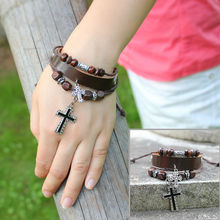 New Trendy Handmade Charm Ethnic Leather With Cross Brown Cool Bracelet Jewelry For Women Men