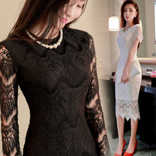 Women Fashion Lace Long Dress Nice New Autumn Winter Ol Slim Hip Long Sleeve Sexy formal/club Party Long Dresses Plus Size S2218