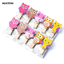 10Pcs/Pack Mini owl Wooden Clothes Photo Paper Peg Pin Clothespin Craft Postcard Clips Home wedding Decoration With Rope(China)