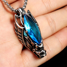 2017 cool new design vintage black wing stainless steel dragon necklace blue red big stone pendant design for men