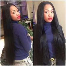 No Shedding NoTanlged Silky Straight Synthetic Lace Front Wig Heat Resistant Black Long Brazilian Straight Hair for Black Women