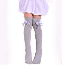 1 Pair 34-50cm Kids Baby Girls Lace Cotton Japanese High Knee Socks Bow Stockings children clothing(China)