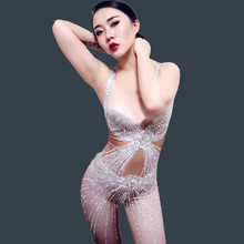 Bling Crystals Rompers Women's sexy Jumpsuit Party Costume Stage Wear Bodysuit Women Singer Rhinestones Nude Color Outfit