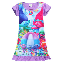 Baby Girls Trolls Dress 2017 Summer New Cartoon Straight Ice Silk Party Evening Children Dresses Kid Short Sleeve Clothing Ds331