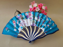 Free Shipping 80pcs/lot Chinese style craft bamboo fan,satin silk folding fan with assorted flower designs