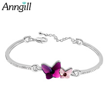 ANNGIL Original Crystals From SWAROVSKI Bracelet Silver Color Charm Bracelet For Women Christmas Jewelry High Quality Gift