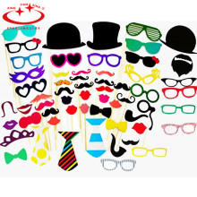 58Pcs/Set Fun DIY/Christmas Photo Booth Prop new style glasses mustache wedding pictures props Christmas party supplies