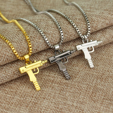 2017 HOT New Engraved Hip Hop For Gun Shape Uzi Golden Pendant Fine Quality Necklace Gold Chain Popular Fashion Jewelry