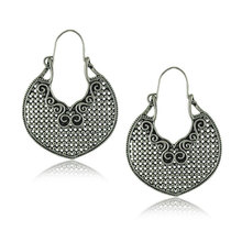 New Hot Fashion Exaggerated Antique Silver Plated Earrings for Women Statement Hollow Earrings Chunky Jewelry(China)