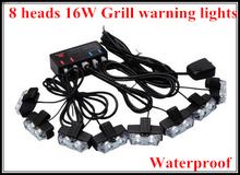 High intensity 8heads 16W led car grill warning light, strobe lights,emergency lights for police,ambulance,fire truck,waterproof(China)