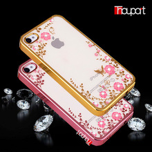 For Apple iphone 4S iphone 4 Case Bling Rhinestone Soft TPU Phone Back Cover Transparent Gold Plating Secret Garden(China)