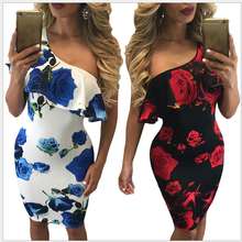Vintage Women One Shoulder Dresses Print Summer Sexy Party clothes Blue Rose Mini Dress Vestido Ruffles Summer Dress Lady 810312(China)