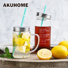 Mason Jar Heat Resistance letter Juice Mug Glass Cup Instagram handle free lid cover straw(China)
