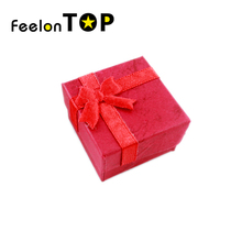 New 2016 Designer Square Bowknot Colorful Paper Elegent Wedding Rings Jewelry Box Gift Package
