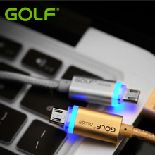 GOLF Smart LED Light Metal Braided Android Phone Charger Cable For Huawei Samsung LG Moto OPPO Micro USB Data Sync Charge Cable