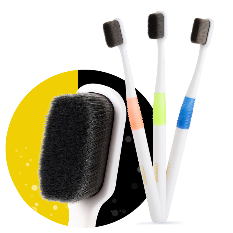 Super Dense Bristles Toothbrush Ultrasoft Bamboo Charcoal Fiber Soft Oral Care for Kids Pregnant Sensitive Gums with Case