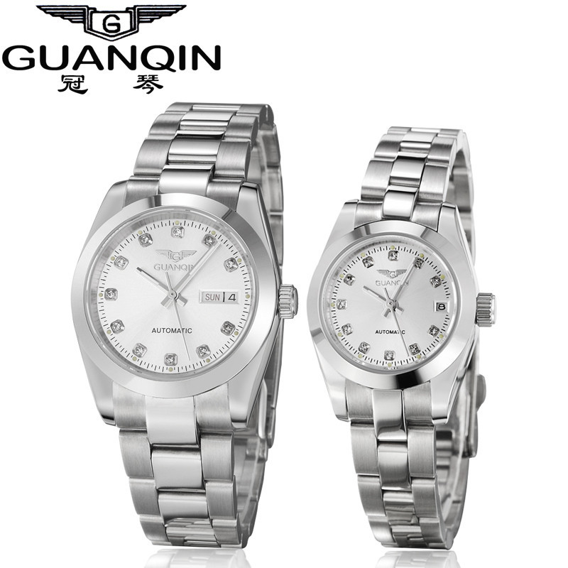 GUANQIN Gold Couple Watch Men Women Mechanical Watch Luminous Calendar Week Waterproof Rhinestones Automatic Lovers Watches (4)
