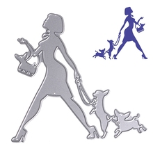 Woman With Two Dogs Cutting Dies Stencils Carbon Steel DIY Scrapbooking Photo Album Cards Decorative Embossing Craft MAR18_35