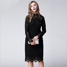 Buy Black Stand collar long-sleeved Hollow lace dress Fashion temperament women's dress plus size women clothing for $39.98 in AliExpress store