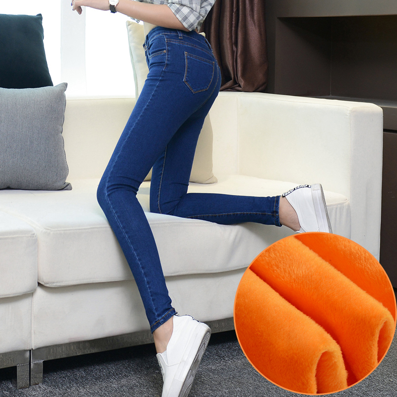 Winter Warm Skinny Jeans High Waist Stretch Plus Size Women Denim Pants Fashion Trousers Fleece  Velvet Pants Brand clothingОдежда и ак�е��уары<br><br><br>Aliexpress