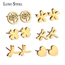 New Arrival and Hot Sale 6 Pairs Youth Stainless Steel Earrings Set, Stud Earrings Nickel-free, Gold/ Silver